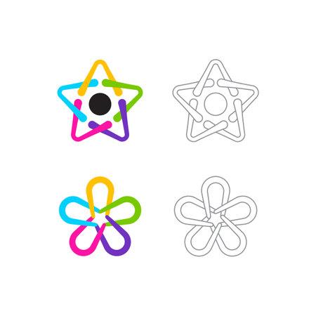 Star vector logo icon template set. Colorful and line logo set. premium design
