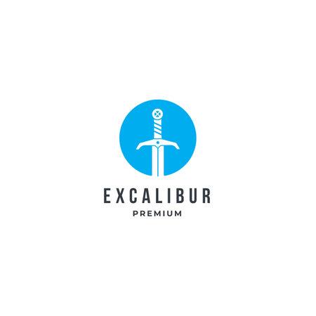 Modern Excalibur logo icon with blue circle. premium design inspiration