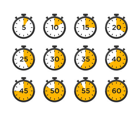 Set of timer and stopwatch icons. timer icon with different minutes
