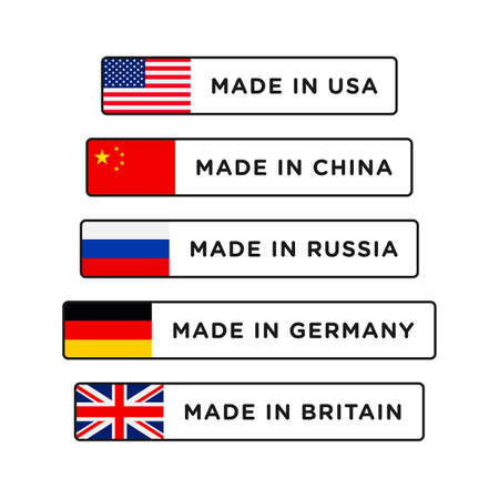 Made in USA, China, Britain, Germany and Russia badge with flag. Made in banner isolated on white background