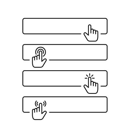 Click submit blank button in line style design with various hand finger cursor Ilustração