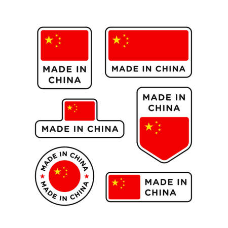 Various made in China labels set, Chinese product emblem