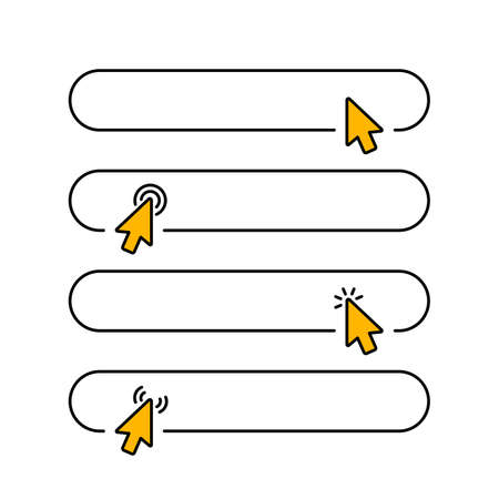 Click submit blank button in line style design with various arrow pointer cursor