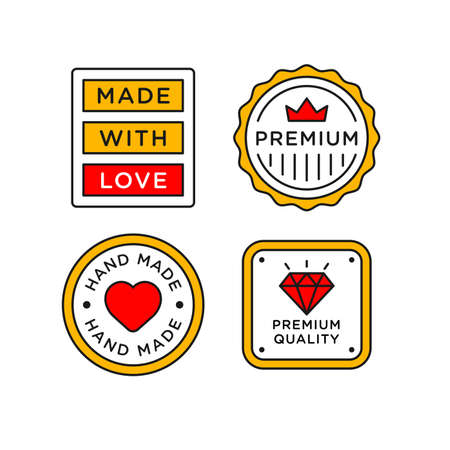 Hand Made with Love lettering stamp label. Premium quality and 100% made with love badge in line style