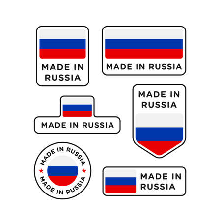 Various made in Russia labels set, Russian product emblem 向量圖像