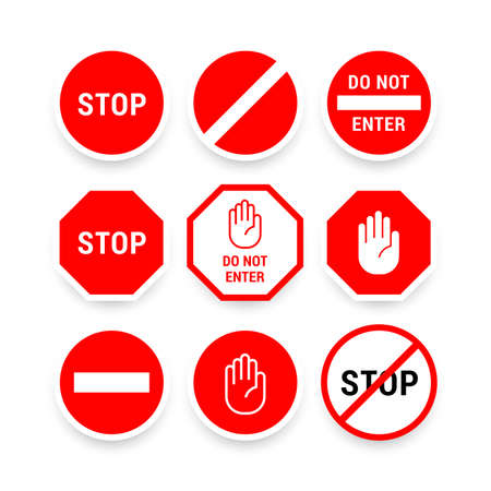 Various stop signs collection in red and white for the driver