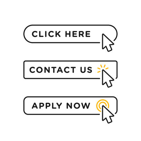 Click here, contact us and apply now blank button in line style design with various arrow pointer cursor