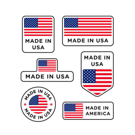 Various made in USA labels set, American product emblem