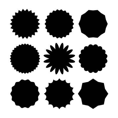 Star burst sticker set in various shape. Vector illustration designed in black over white. Premium vector 版權商用圖片 - 162381859