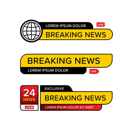 Set of breaking news banner template in various shape. Designed in different style and icon logo. Premium vector 向量圖像