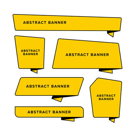 Set of yellow abstract banner designed in different shape. Designed in folded paper style. Origami vector illustration. Premium vector