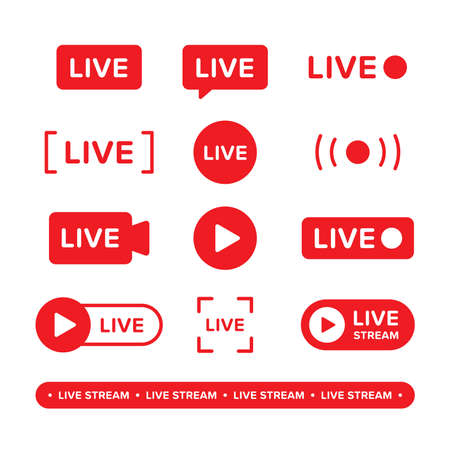 Set of video broadcasting and live streaming icon. Vector illustration designed in red. Premium vector
