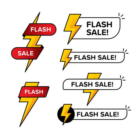 Set of flash sale banners with thunder sign. Designed in various shape and color. Premium line style vector