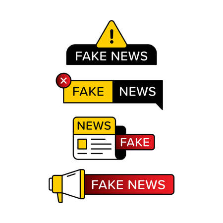 Set of fake news warning sign in various shape and style. Designed with exclamation mark newspaper and hand speaker icon. Premium vector 向量圖像