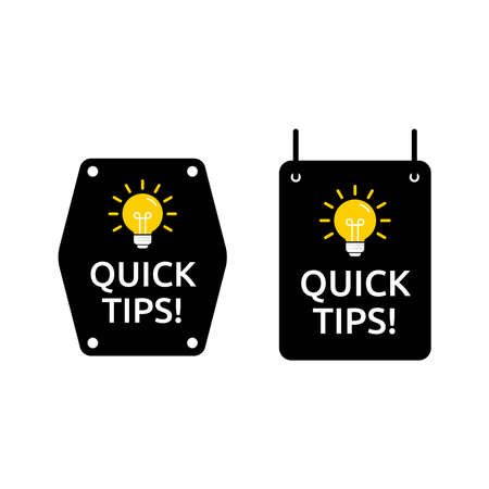 Set of quick tips logo in square and hexagon shape. Designed in black and yellow color with light icon. Premium vector