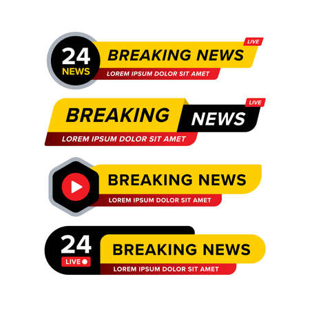 Collection of breaking news banner designed in different style and shape. Creative vector illustration in yellow black red and white. Premium vector