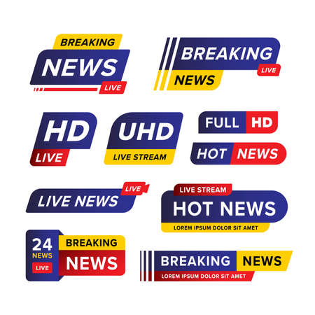 Set of breaking news banner template designed in blue red and yellow in various different shape and style. Creative vector illustration. Premium vector