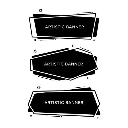 Set of abstract banner in various shapes. Black vector illustration isolated on white background. Premium vector