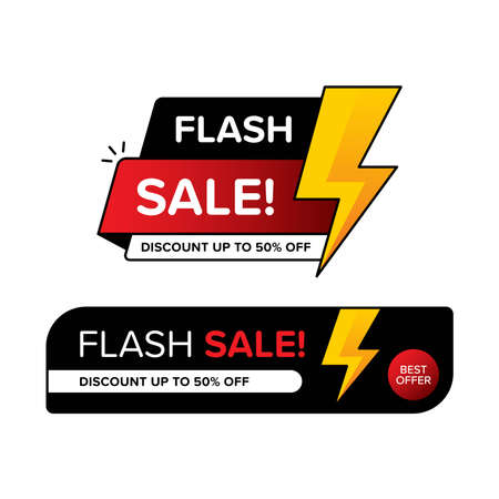 Collection of flash sale banner with price tags for discount. Vector illustration in two different shapes. Premium vector