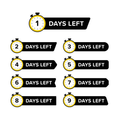 Collection of promotional banner with number of days left sign in clock icon. Designed in different shapes. Premium vector 向量圖像