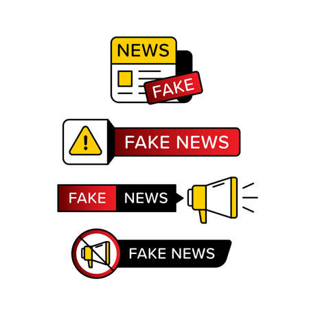 Collection of warning sign with fake news text in various shape and style. Vector illustration designed in yellow red and black . Premium vector 向量圖像