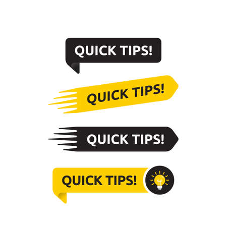 Quick tips, helpful tricks vector icon or symbol set with black and yellow color and light bulb element suitable for web. emblems and banners vector set isolated