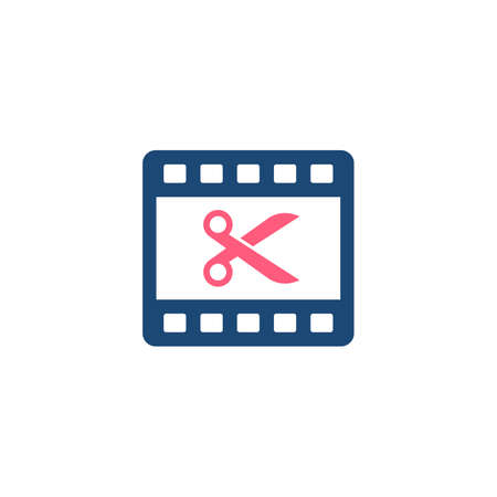 Video Editing glyph style icon. Film roll with scissors cut on it. Premium vector icon