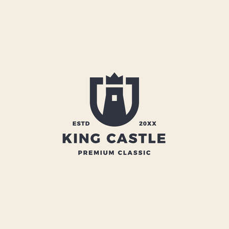 King castle logo with crow and shield emblem 向量圖像