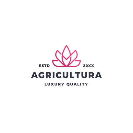 Pink lotus flower logo and agriculture 向量圖像