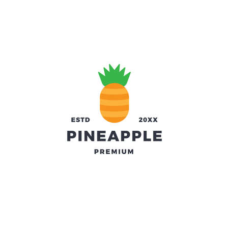 Simple pineapple logo with flat style design 向量圖像