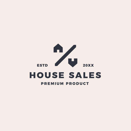 Home and house sale logo with creative unique percentage symbol
