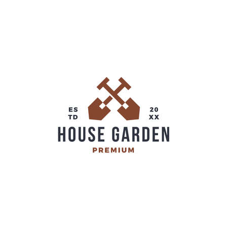 house garden with farming digger scoop symbol 向量圖像