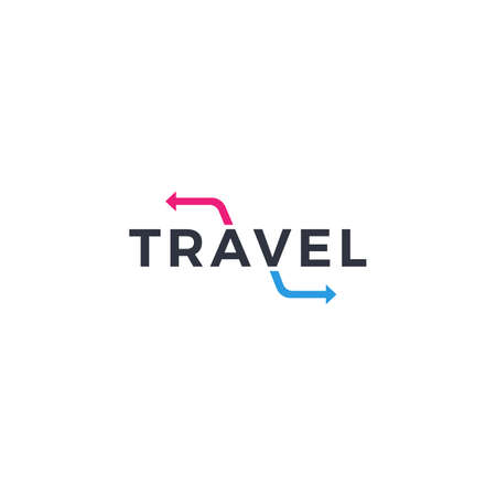 Travel logo concept with initial arrow back and go