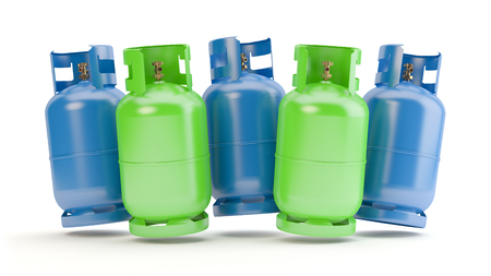 Blue and green gas bottles, 3D illustration