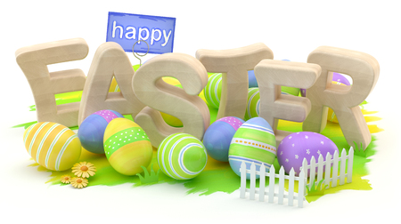 Happy Easter, 3D illustration