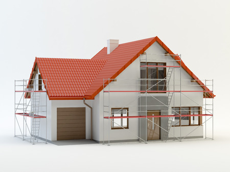 House and scaffolding, 3D illustration Banque d'images - 124312576