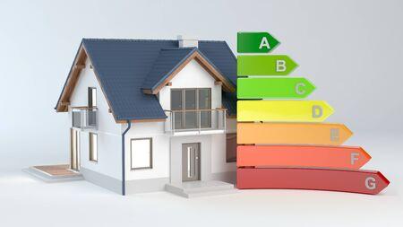 Energy Efficiency - House No.9, 3D illustration Archivio Fotografico