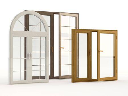 Finestre in legno e plastica, illustrazione 3D