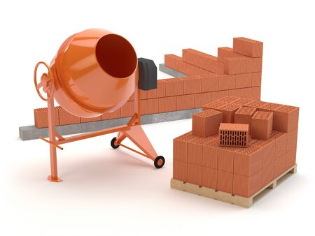 Bricks and concrete mixer, 3D illustration