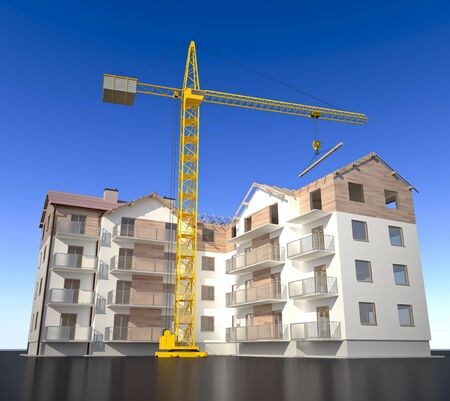 New apartments building - with crane, 3D illustration