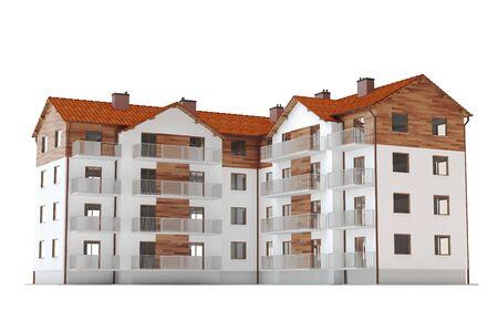 Modern apartments v2 - white background, 3D illustration