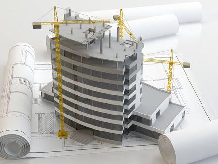 Skyscraper construction project, 3d illustration Imagens