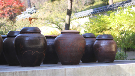Korean traditional houses and pot