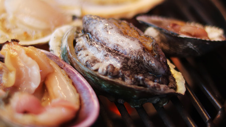 A shellfish baked in its own shell Stock Photo