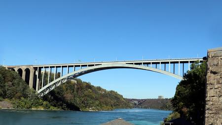 large bridge connecting the river Stock Photo