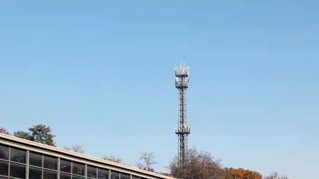 A roadside transmitting tower