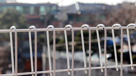 A white iron fence Stock Photo