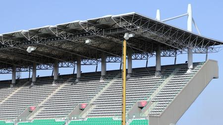 The grandstand at a baseball stadium.