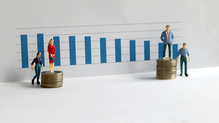 Wage comparison between men and women. Two miniature men and women.