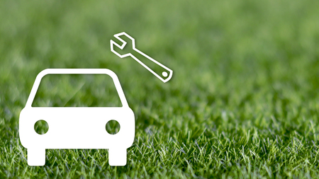 Car repair and maintenance concepts, illustration of car on the green lawn Stock Photo